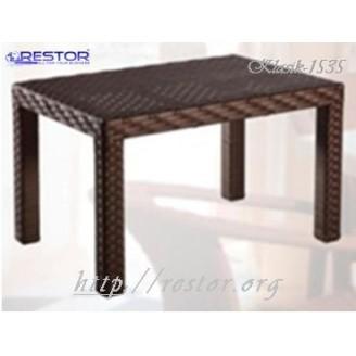 Плетёный кофейный столик Klasik-1535.2 столешница заплетённая, Техноротанг, Искусственный ротанг, всесезонная мебель ручной работы от отечественного производителя.