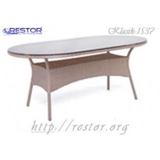 Плетёный стол Klasik-1537, Техноротанг (Искусственный ротанг), Всесезонная мебель, для летней площадки, террассы....