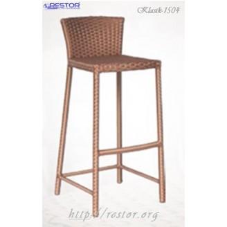 Плетёный стул барный Klasik-1504, Техноротанг (Искусственный ротанг), Всесезонная мебель, для летней площадки, террассы....