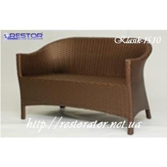 Плетёный диван Klasik-1510, Техноротанг (Искусственный ротанг), Всесезонный, для летней площадки, террассы....