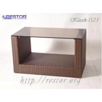 Плетёный столик журнальный Klasik-1521, Техноротанг (Искусственный ротанг), Всесезонная мебель, для дома, пансионата, дачи, террассы....
