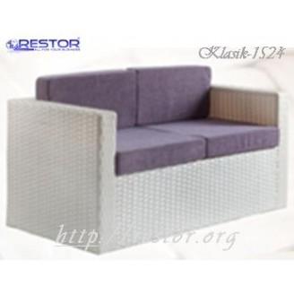 Плетёный диван Klasik-1524, Техноротанг, Искусственный ротанг, Всесезонный, для ресторана, кафе, бара, летней площадки, террассы....