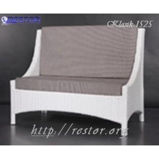 Плетёный диван Klasik-1525 кушетка, Техноротанг, Искусственный ротанг, Всесезонный, для ресторана, кафе, бара, летней площадки, террассы....