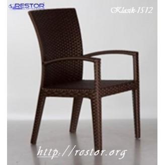 Плетёный стул Klasik-1500.1 с подлокотником, Техноротанг (Искусственный ротанг), Всесезонная мебель, для летней площадки, террассы....