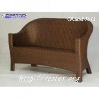 Плетёный диван Klasik-1515.1, Техноротанг (Искусственный ротанг), Всесезонный, для летней площадки, террассы....