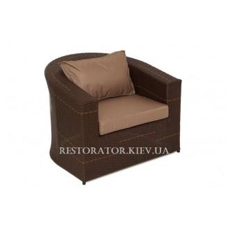 Кресло плетеное из полиротанга Комфорт (Rest-1512) шоколад и мелаж - Restor®