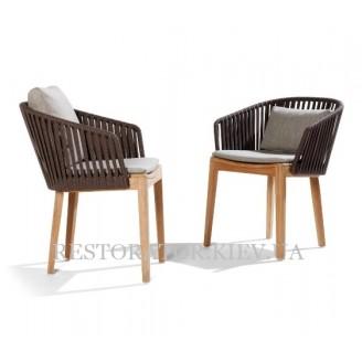 Кресло плетеное из дерева и тканевого шнура Твист (деревянные ножки) - Restor®