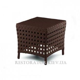 Пуф плетеный из полиротанга Шейк плетение восьмиугольником, сиденье - елка - Restor®