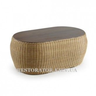 Стол плетеный из полиротанга Фиджи журнальный (овальный) - Restor®