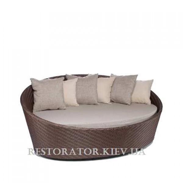 плетеный диван из искусственного ротанга орбит круглый с подушкой
