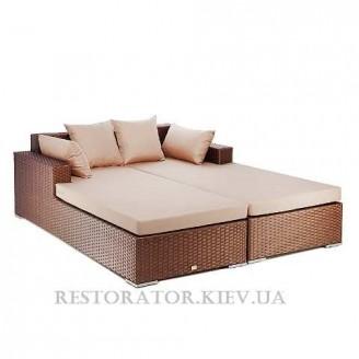 Диван плетеный из полиротанга Квадро (2 секции с подушкой) - Restor®