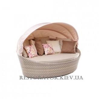 Лаундж диван плетеный из полиротанга Орбит - М с тентом (широкая лента) - Restor®