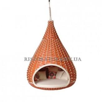 Лаунж диван плетеный из полиротанга Инжир подвесной из широкого техноротанга - Restor®