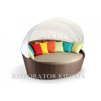 Диван плетеный из полиротанга Орбит паркетное плетение (с подушкой и тентом) - Restor®