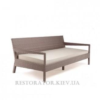 Диван плетеный из полиротангане Татами раздвижной в классическом плетении (с подушкой) - Restor®