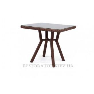 Стол плетеный из полиротанга Флеш 800 прозрачное стекло - Restor®