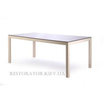 Стол плетеный из полиротанга Галант прозрачное стекло - Restor®