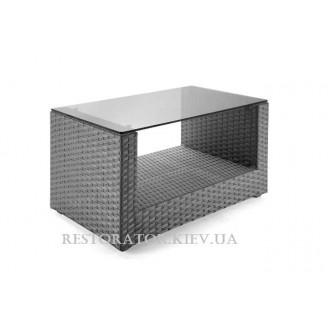 Стол плетеный из полиротанга Гранд U - образный тонированное стекло - Restor®