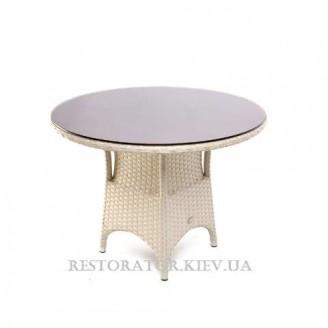 Стол плетеный из полиротанга Марокко круглый 1000 тонированное стекло 6 мм - Restor®