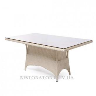 Стол плетеный из полиротанга Марокко тонированное стекло 8 мм - Restor®