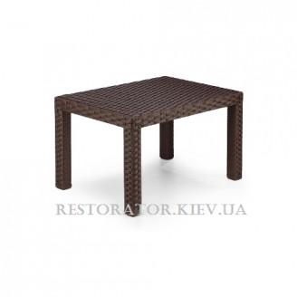Стол плетеный из полиротанга Аризона 600 стеклянная столешница с аппликацией и орнаментом - Restor®