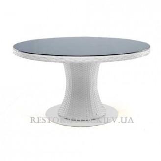 Стол плетеный из полиротанга Атлант 900*900 прозрачное стекло - Restor®