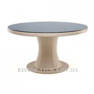 Стол плетеный из полиротанга Атлант 2000 прозрачное стекло 8 мм 2 части - Restor®