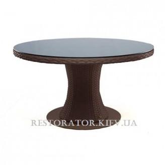 Стол плетеный из полиротанга Атлант 800 прозрачное стекло - Restor®