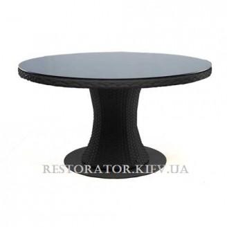 Стол плетеный из полиротанга Атлант 1400 тонированное стекло 6 мм - Restor®