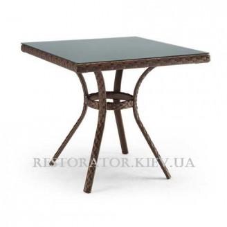 Стол плетеный из полиротанга Блюз квадратный 800 HPL - Restor®