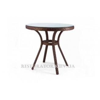 Стол плетеный из полиротанга Блюз круглый 900 прозрачное стекло - Restor®