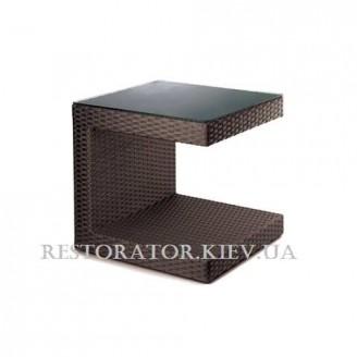Стол плетеный из полиротанга Гранд С - образный прозрачное стекло - Restor®