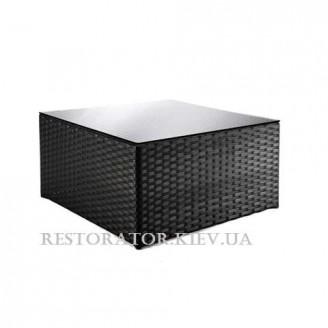 Стол плетеный из полиротанга Гранд Куб прозрачное стекло 1200*700 - Restor®