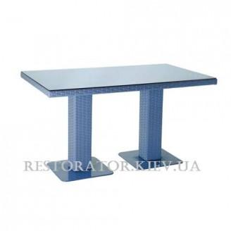 Стол плетеный из полиротанга Мартин 2 опоры 1400 тонированное стекло - Restor®