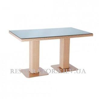 Стол плетеный из полиротанга Мартин 2 опоры 1400 прозрачное стекло - Restor®