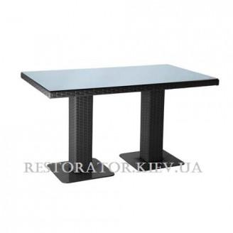 Стол плетеный из полиротанга Мартин 2 опоры 1800 прозрачное стекло 8 мм - Restor®