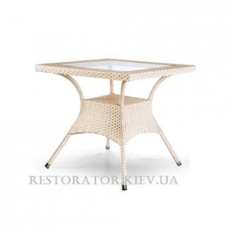 Стол плетеный из полиротанга Монтана квадратный (прозрачное стекло) - Restor®