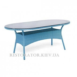 Стол плетеный из полиротанга Монтана радиусный 1600 тонированное стекло 8 мм - Restor®