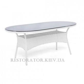 Стол плетеный из полиротанга Монтана радиусный 2000 тонированное стекло 8 мм - Restor®
