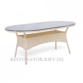 Стол плетеный из полиротанга Монтана радиусный 2000*1200 HPL - Restor®