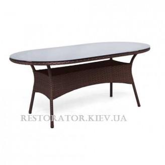 Стол плетеный из полиротанга Монтана радиусный 2000*1200 тонированное стекло бронза 8 мм - Restor®