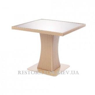 Стол плетеный из полиротанга Неаполь - М 800 прозрачное стекло 6 мм - Restor®