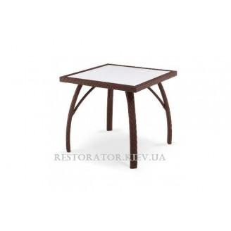 Стол плетеный из полиротанга Палермо квадратный прозрачное стекло 6 мм - Restor®