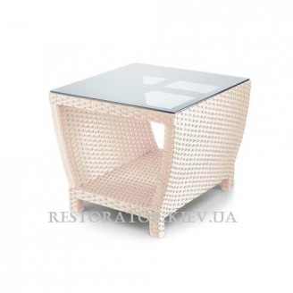 Стол плетеный из полиротанга Парадиз 1000 тонированное стекло 6 мм - Restor®