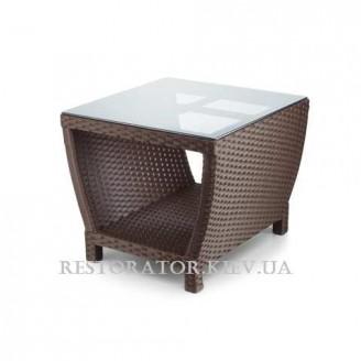 Стол плетеный из полиротанга Парадиз 600 тонированное стекло 6 мм - Restor®