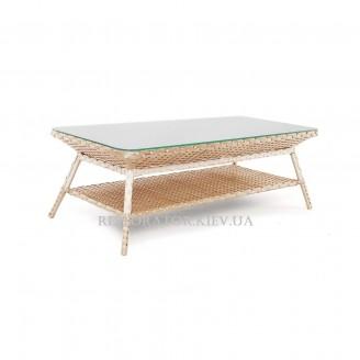 Стол плетеный из полиротанга Теннесси прозрачное стекло - Restor®
