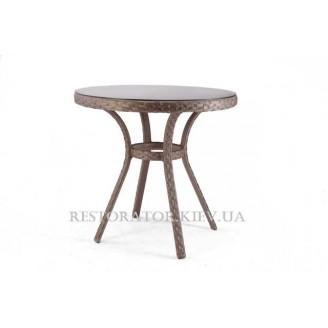 Стол плетеный из полиротанга Блюз круглый 800 прозрачное стекло (плетеная полка) - Restor®