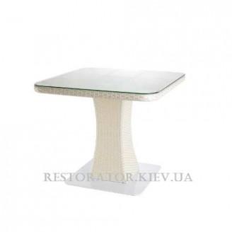 Стол плетеный из полиротанга Неаполь 900 прозрачное стекло радиусные углы - Restor®