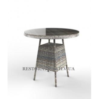 Стол Глория круглый (каленое тонированное стекло) из алюминия и широкой ленты полиротанга - Restor®