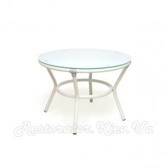 Стол из литого алюминия Папасан прозрачное стекло - Restor®